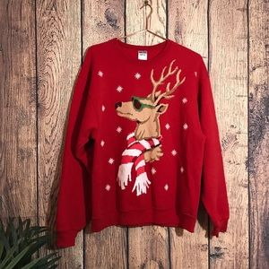 Other - Christmas Sweater L Reindeer Red